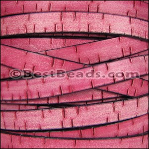 10mm flat BARK leather PINK - per 10m SPOOL