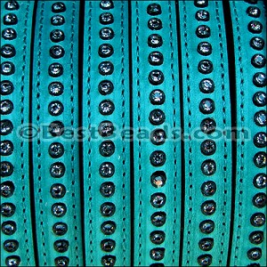 10mm flat CRYSTAL leather TURQUOISE - per 10m SPOOL