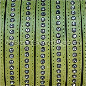 10mm flat CRYSTAL leather LIME GREEN - per 10m SPOOL