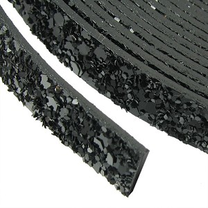 10mm flat GLITTER leather BLACK - per 20m SPOOL