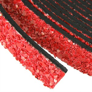 10mm flat GLITTER leather RED - per 20m SPOOL