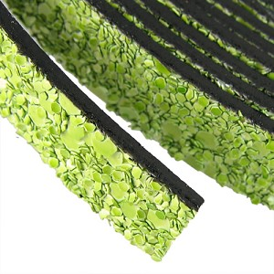 10mm flat GLITTER leather LIME GREEN - per 5 meters