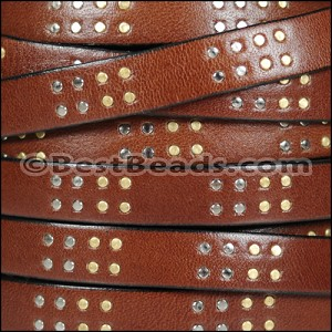 10mm flat ITALIAN STUDDED leather STYLE 1 MED BROWN - per 10m SPOOL