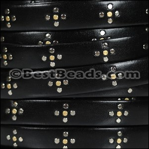 10mm flat ITALIAN STUDDED leather STYLE 2 BLACK - per 1 meter