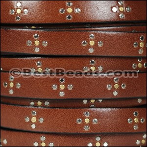 10mm flat ITALIAN STUDDED leather STYLE 2 MED BROWN - per 1 meter