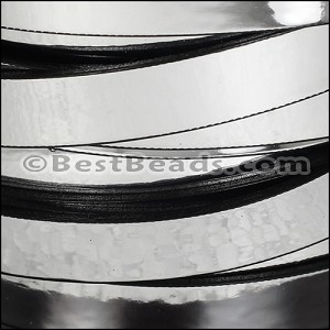 10mm flat MIRROR leather SILVER - per 2 meters