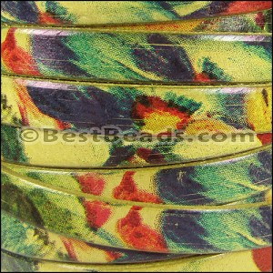 10mm flat WATERCOLOR leather FLORAL YELLOW - per 2 meters