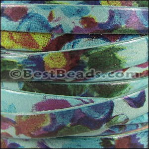 10mm flat WATERCOLOR leather FLORAL TURQUOISE - per 10m SPOOL