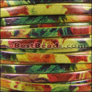5mm flat WATERCOLOR leather FLORAL YELLOW - per 20m SPOOL