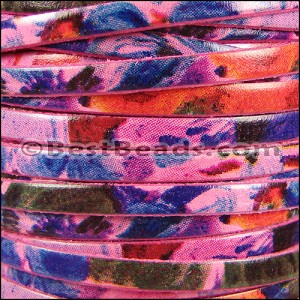 5mm flat WATERCOLOR leather FLORAL PINK - per 5 meters