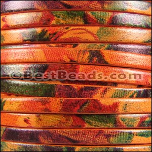 5mm flat WATERCOLOR leather FLORAL ORANGE - per 20m SPOOL