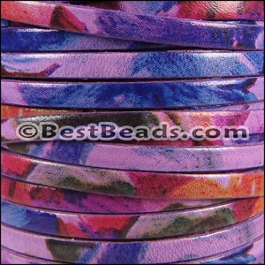 5mm flat WATERCOLOR leather FLORAL PURPLE - per 20m SPOOL