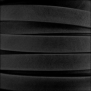 5mm flat ARIZONA leather BLACK - per 5 meters