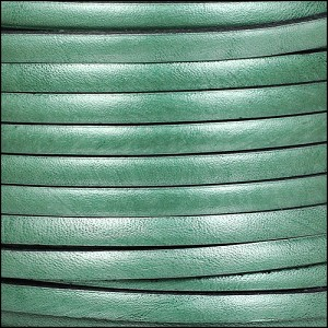 5mm flat leather METALLIC FERN GREEN - per 5 meters