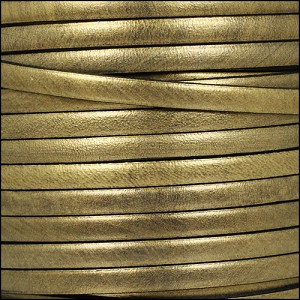 5mm flat leather METALLIC OLD GOLD - per 5 meters