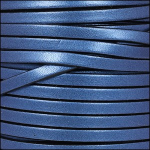 5mm flat leather METALLIC DENIM - per 5 meters
