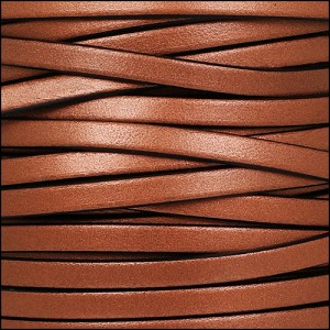 5mm flat leather METALLIC ANT. COPPER - per 5 meters