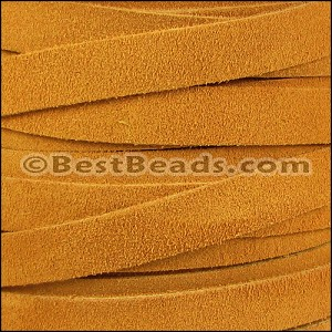 10mm flat SUEDE leather MUSTARD - per 25m SPOOL