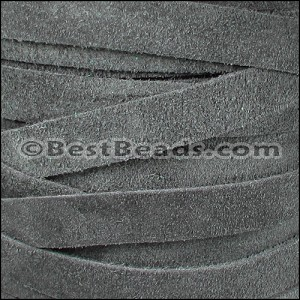 10mm flat SUEDE leather GREY - per 2 meters