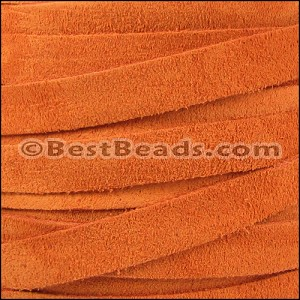 10mm flat SUEDE leather ORANGE - per 25m SPOOL
