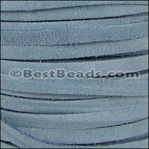 5mm flat SUEDE leather PALE BLUE - per 5 meters