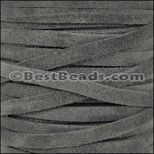 5mm flat SUEDE leather GREY - per 25m SPOOL