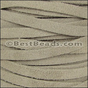 5mm flat SUEDE leather SAND - per 25m SPOOL