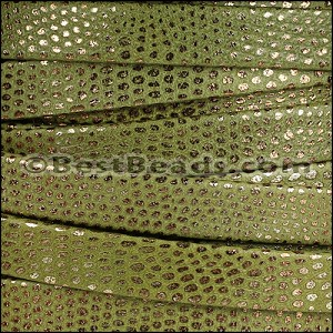 10mm flat LUXOR leather KHAKI GREEN - per 2 meters