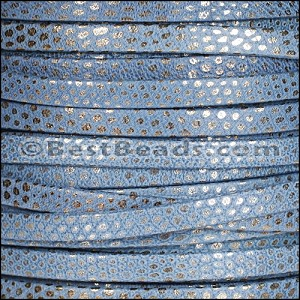 5mm flat LUXOR leather BLUE - per 5 meters