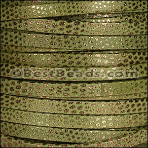 5mm flat LUXOR leather KHAKI GREEN - per 20m SPOOL