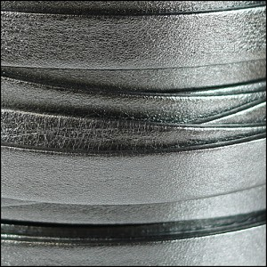 10mm flat PEARL METALLIC leather PEWTER - per 20m SPOOL