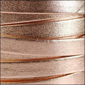 10mm flat PEARL METALLIC leather ROSE GOLD - per 2 meters