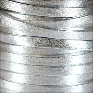 5mm flat PEARL METALLIC leather SILVER - per 20m SPOOL