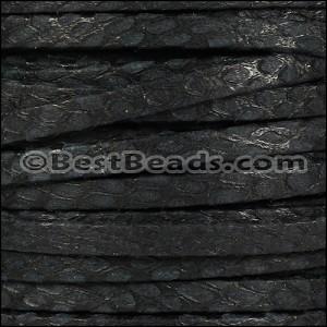 5mm flat SAVANNAH leather BLACK - per 20m SPOOL