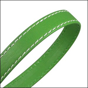 10mm flat WRAPPED STITCHED leather GREEN - per 2 meters