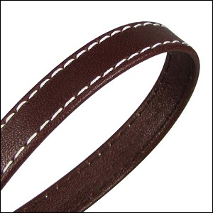 10mm flat WRAPPED STITCHED leather CHOCOLATE BROWN - per 20m SPOOL