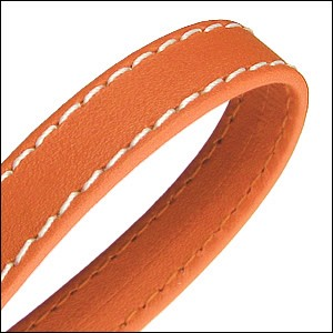 10mm flat WRAPPED STITCHED leather ORANGE - per 2 meters