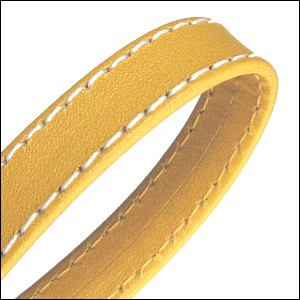 10mm flat WRAPPED STITCHED leather YELLOW - per 2 meters