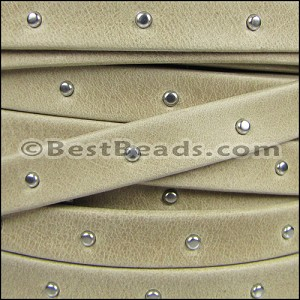 10mm flat STUDDED ARIZONA leather SAND - per 2 meters