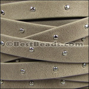 10mm flat STUDDED ARIZONA leather TAUPE - per 2 meters