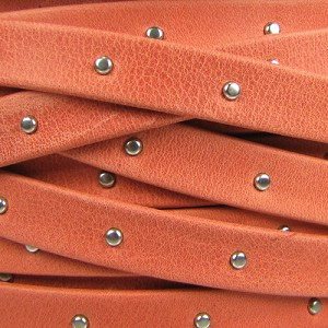 10mm flat STUDDED ARIZONA leather BURNT ORANGE - per 2 meters
