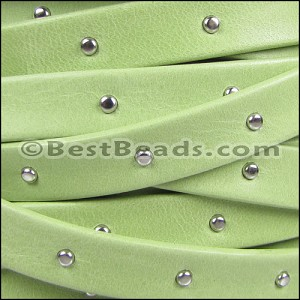 10mm flat STUDDED ARIZONA leather KEY LIME GREEN - per 2 meters