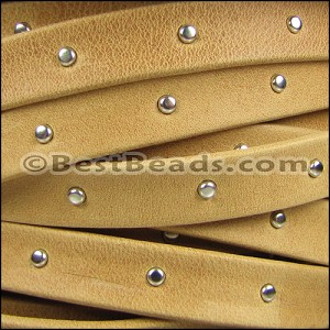 10mm flat STUDDED ARIZONA leather OLD GOLD - per 2 meters