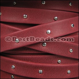 10mm flat STUDDED ARIZONA leather RED - per 2 meters