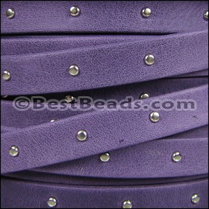 10mm flat STUDDED ARIZONA leather VIOLET - per 2 meters