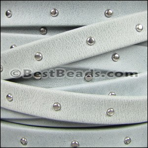 10mm flat STUDDED ARIZONA leather ICE - per 20m SPOOL