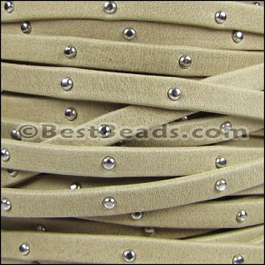 5mm flat STUDDED ARIZONA leather SAND - per 20m SPOOL