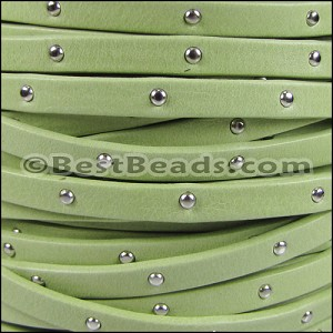 5mm flat STUDDED ARIZONA leather KEY LIME GREEN - per 5 meters