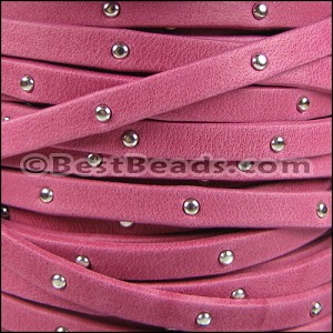 5mm flat STUDDED ARIZONA leather FUCHSIA - per 20m SPOOL