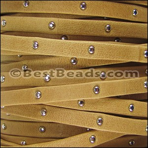 5mm flat STUDDED ARIZONA leather OLD GOLD - per 5 meters